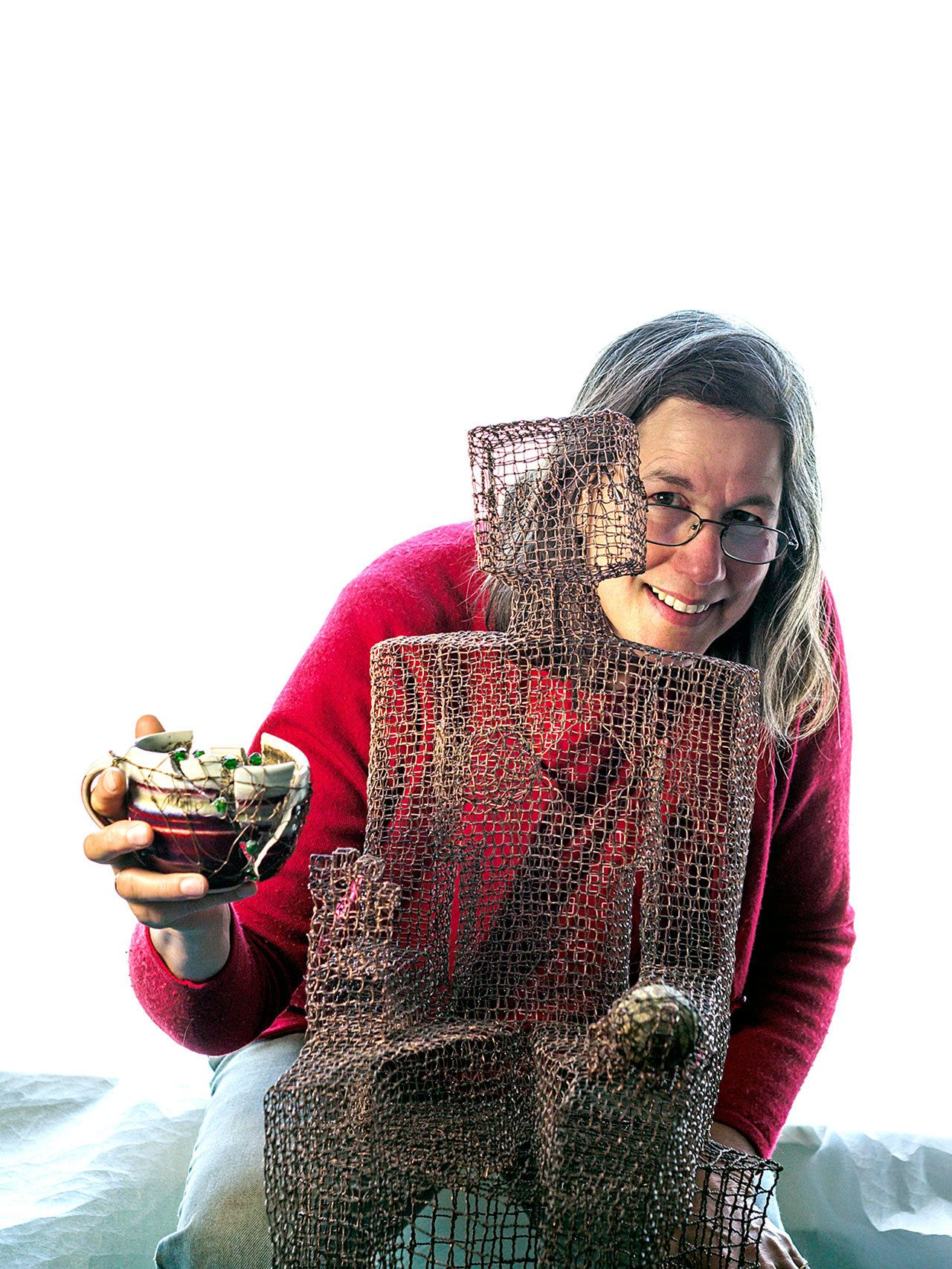 The copper wire sculptures of Jane Van Atta, seen here, will be on display during the 2nd Weekend Art Event at Studio Bob, an art gallery/event space located upstairs at 118 1/2 E. Front St. — John Van Atta.