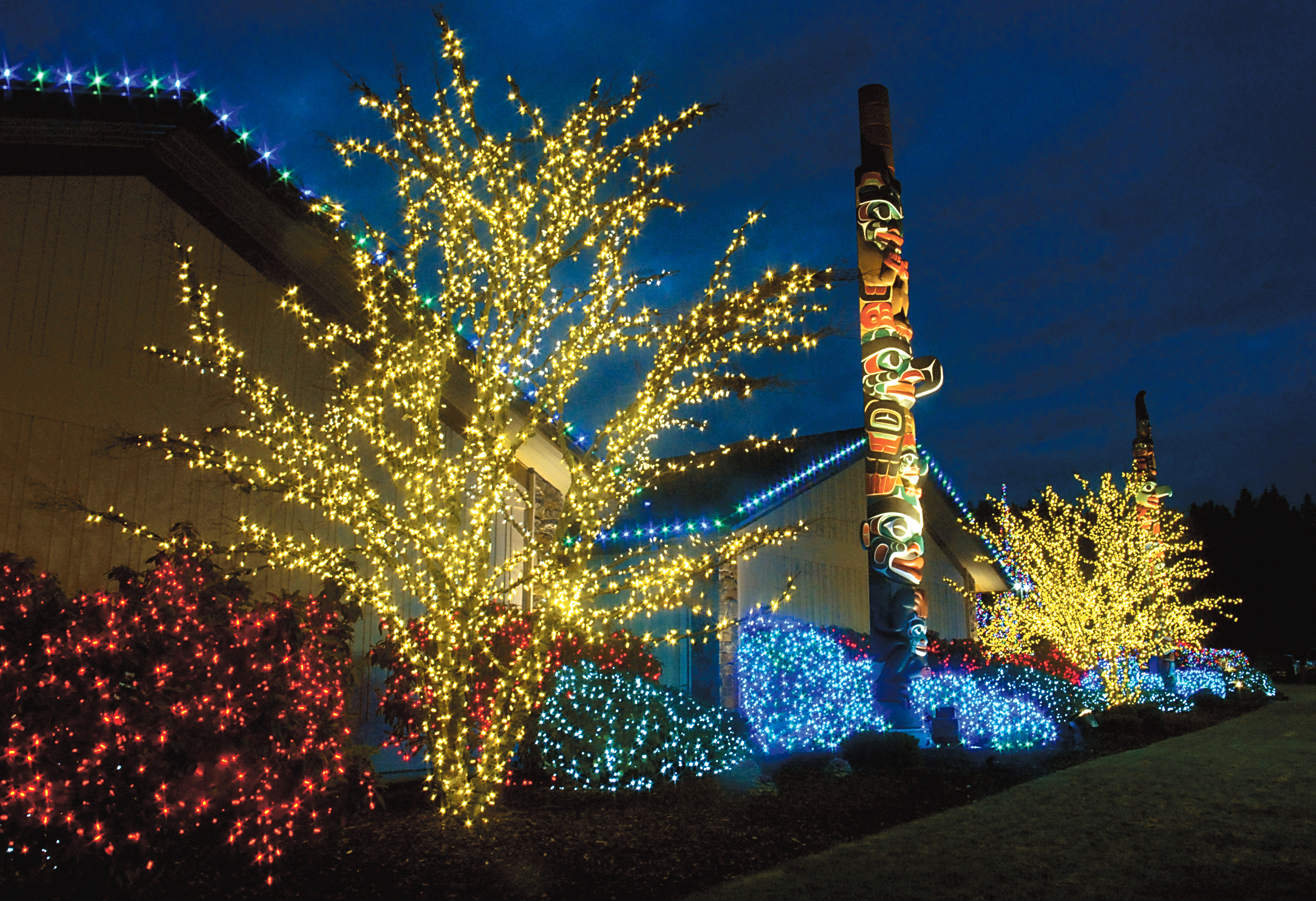 Christmas lights adorn the grounds at 7 Cedars Casino in Blyn during the holiday season. In the biggest light show on the North Olympic Peninsula and possibly the state