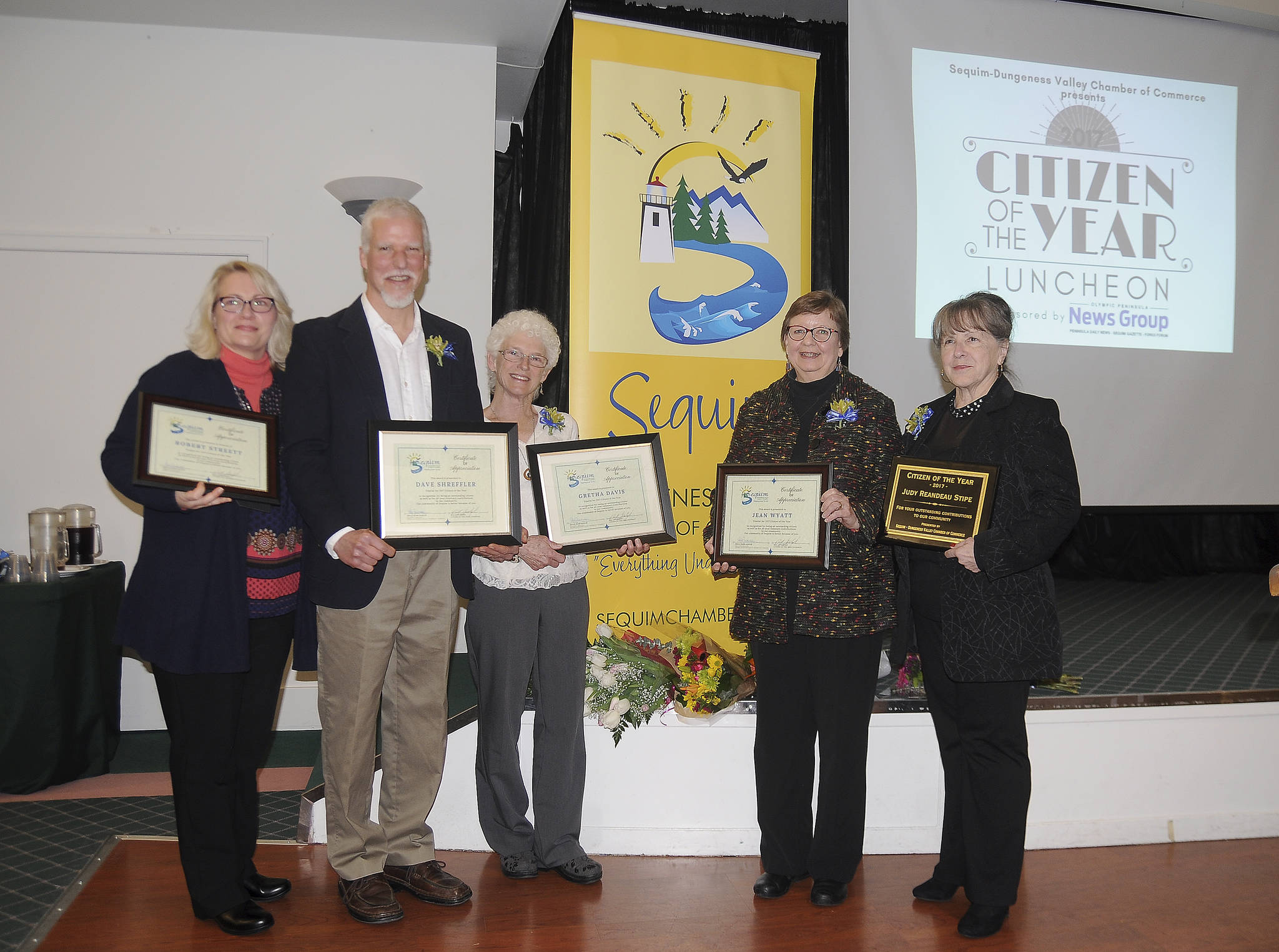 Michael Dashiell/Olympic Peninsula News Group                                Finalists for the Sequim-Dungeness Valley Chamber of Commerce's 2017 Citizen of the Year join award-winner Judy Reandeau Stipe, far right, following the chamber's award ceremony Tuesday. They include, from left, Robert Streett (represented by his wife, Josslyn), Dave Shreffler, Gretha Davis and Jean Wyatt.