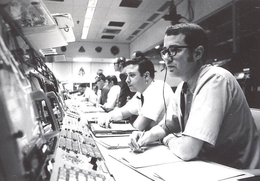 Joey Lazzaro, second from right, worked in the Mission Control Operations Room during the Apollo 11 lunar landing mission in 1969. (Joey Lazzaro/Shipley Center)