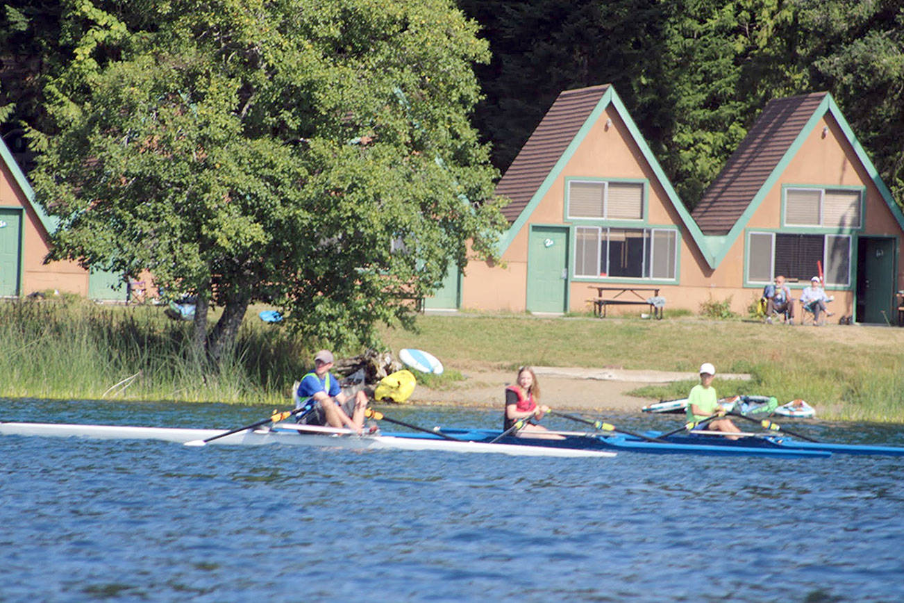 Olympic Peninsula Rowing Association members trained on Lake Crescent this summer while the association's boathouse was relocated on Ediz Hook.