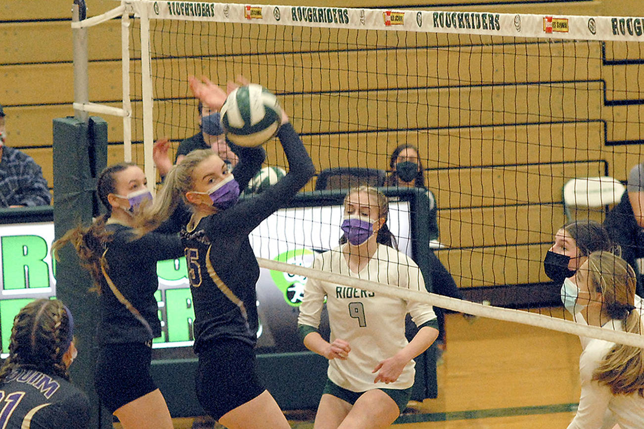 Keith Thorpe/Peninsula Daily News Sequim's Amanda Weller and Kendall Hastings, at the net, look to teammate Kalli Wiker, lower left, for assistance as Port Angeles' Samantha Robbins, Ava Brenkman and Lillian Halberg look on during Saturdays match at Port Angeles High School.