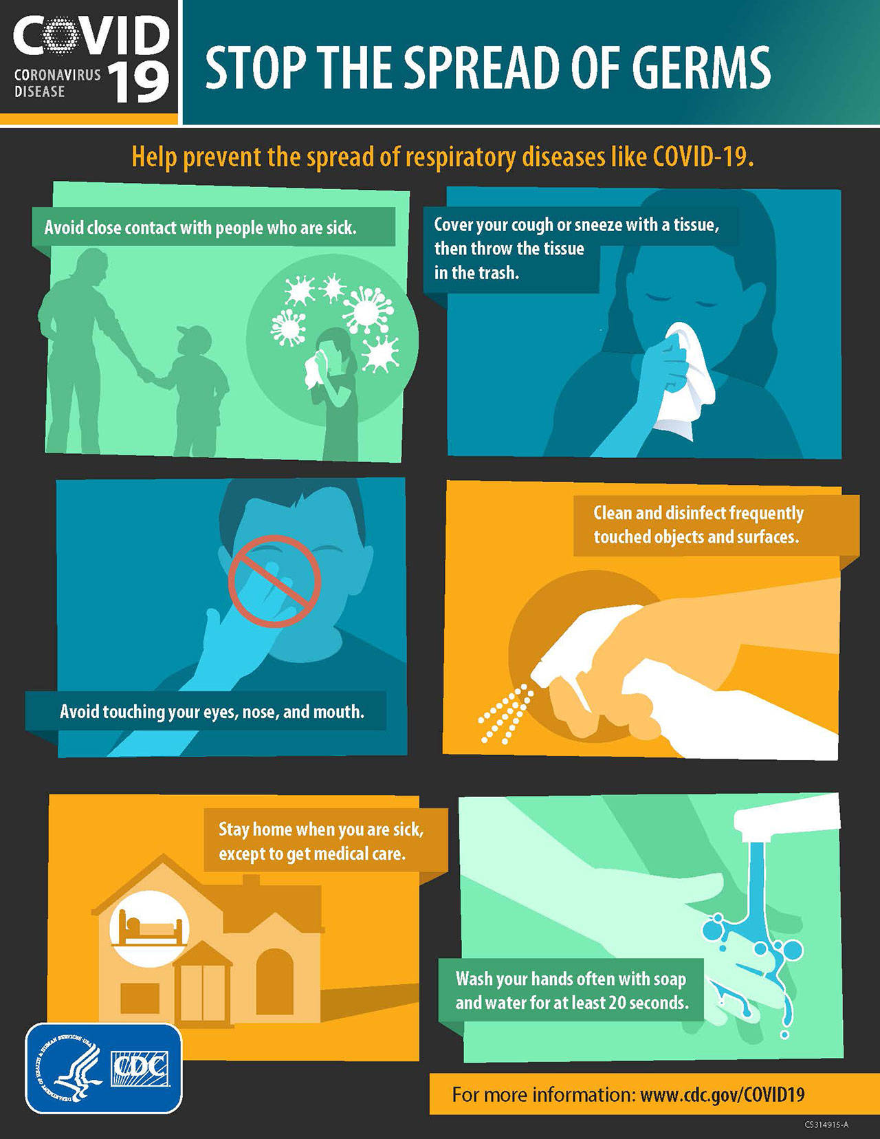 stop the spread of germs Covid-19 COVID19 Covid 19 flu infographic CDC