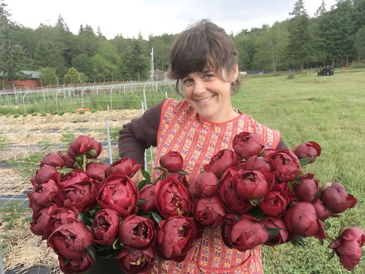Caitlin Carnahan is the farmer at Diamond Day Bouquet in Chimacum. (Photo courtesy of Caitlin Carnahan)
