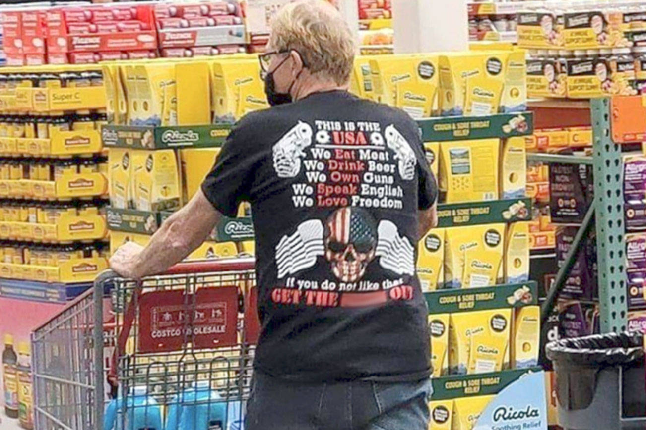 Mayor William Armacost's T-shirt worn during a recent shopping trip has been posted on a variety of Facebook sites. The PDN has blurred a profane word on the shirt. It is not known who took the photo that has prompted many social media comments and letters to the editor.