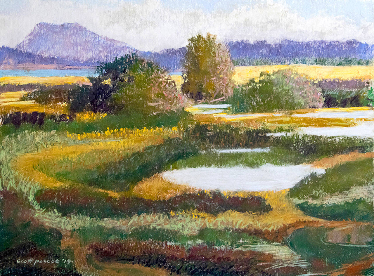 Fallow Fields are among the pastels by Scott Pascoe on display at Port Townsend Gallery.