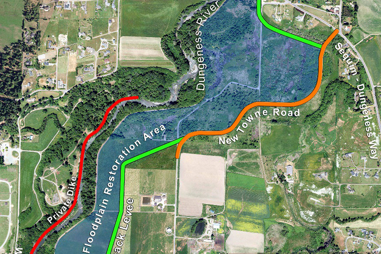A schematic details the Rivers Edge setback levee, construction of which is in progress and expected to finish in September. Map courtesy of Jamestown S'Klallam Tribe