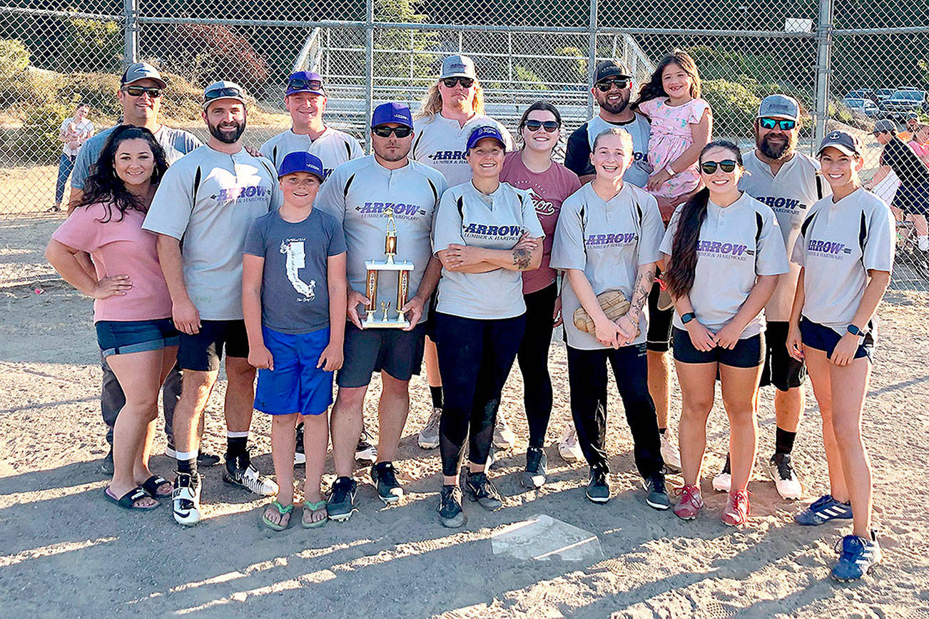 Photo courtesy of Jefferson Parks Parks and Recreation  Team Arrow Lumber defeated Team Justice League last week to win the Jefferson County Adult Softball Tournament. Team Sirens took third place and team Barflies-Uptown Pub won the league's team sportsmanship award. Team Arrow Lumber is, from left, front row Christa Holbrook, Mikail Callahan, Jayden Minish, Jason Minish, Jamie Aumock, Mallori Cossell, Ryley Eldridge, Whitney Larson. From left, back row, are Cadian Hendricks, Chad Holbrook, Ryan Riggle, Jadeah Nordberg, Marcus Moug, Adrienne Moug and Joel Aumock.