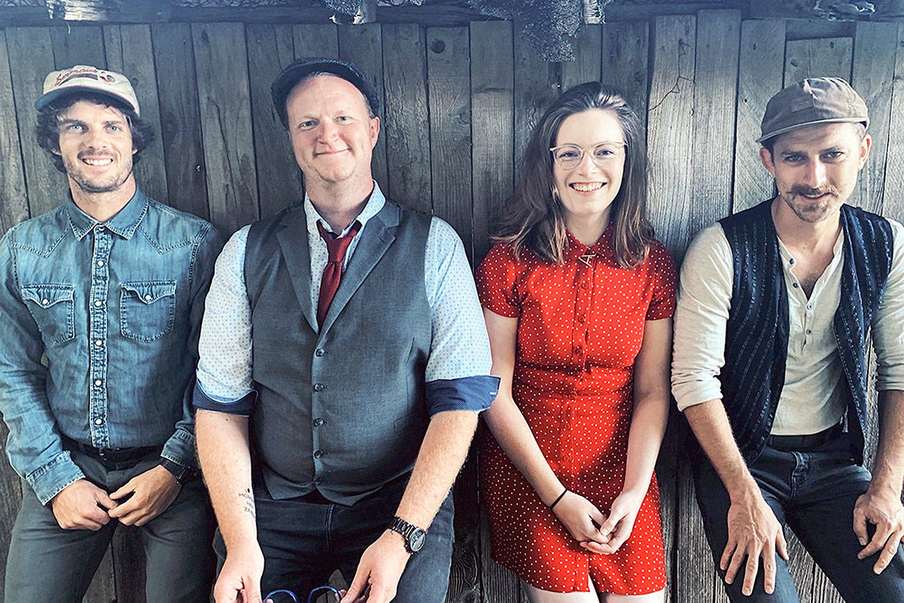 Abby Mae & the Homeschool Boys — from left, Joey Gish, Hayden Pomeroy, Abby Sill and David Rivers — will give a reunion concert outdoors at the Jardin du Soleil Lavender Farm in Sequim on Friday. (Photo courtesy Abby Mae & the Homeschool Boys)